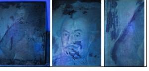 U.V felvételek, jól láthatók a viasz foltok és az átfestések